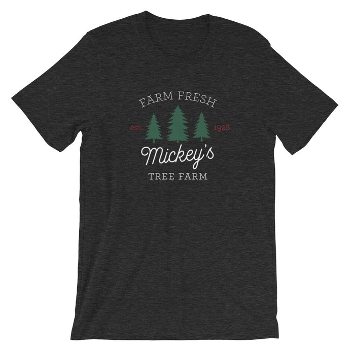 Christmas Mickey's Tree Farm Dark Short-Sleeve Unisex T-Shirt - Next Stop Main Street