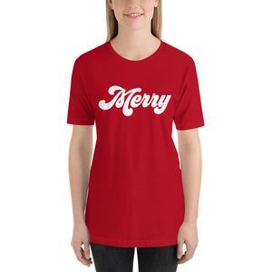 Christmas 70s Merry Short-Sleeve Unisex T-Shirt (more colors available) - Next Stop Main Street
