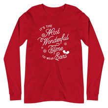 Load image into Gallery viewer, Christmas It's the Most Wonderful Time to Wear Ears Unisex Long Sleeve Tee (more colors available)