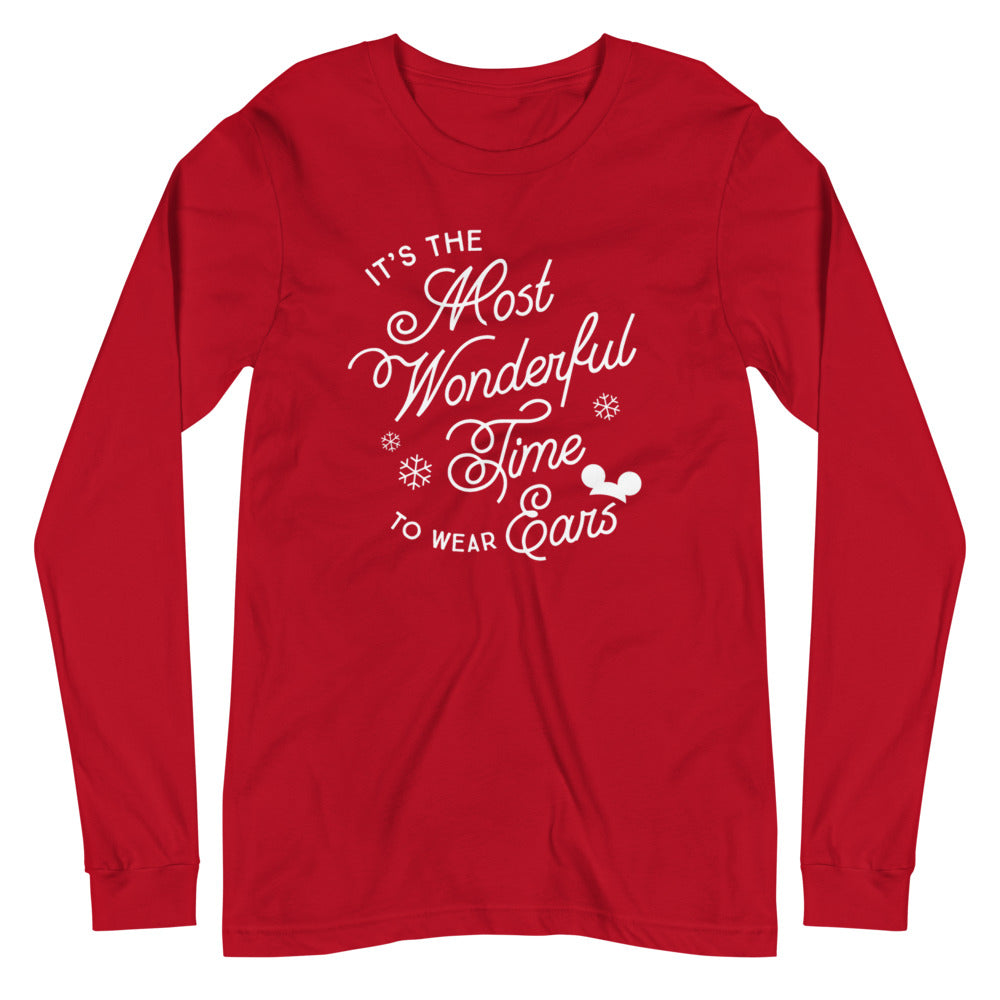 Christmas It's the Most Wonderful Time to Wear Ears Unisex Long Sleeve Tee (more colors available)
