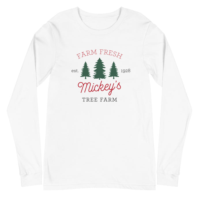 Christmas Mickey's Tree Farm Unisex Long Sleeve Tee - Next Stop Main Street