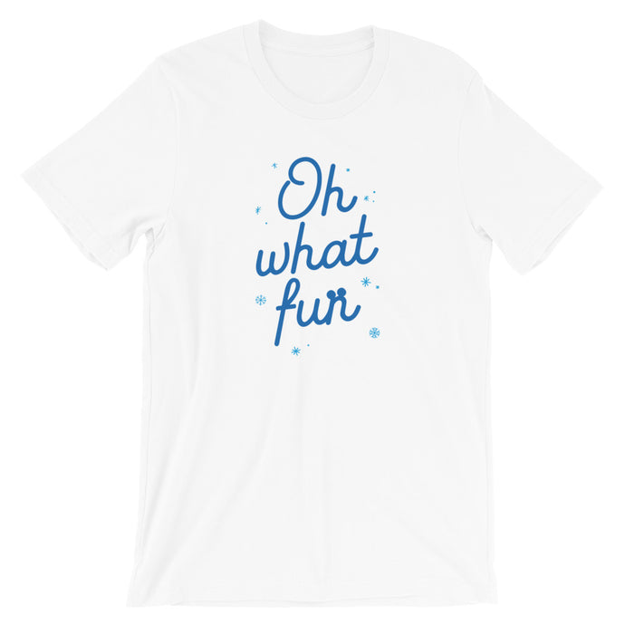 Christmas Oh What Fun Blue Short-Sleeve Unisex T-Shirt (more colors available)