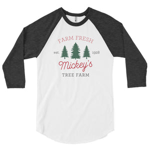 Christmas Mickey's Tree Farm 3/4 Sleeve Raglan Shirt ADULT - Next Stop Main Street