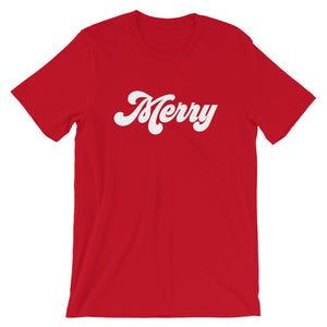 Christmas 70s Merry Short-Sleeve Unisex T-Shirt (more colors available)
