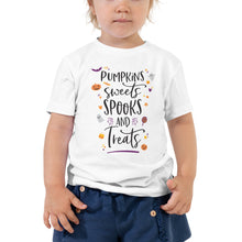 Load image into Gallery viewer, Halloween Pumpkins Sweets Spooks and Treats TODDLER Short Sleeve Tee - Next Stop Main Street