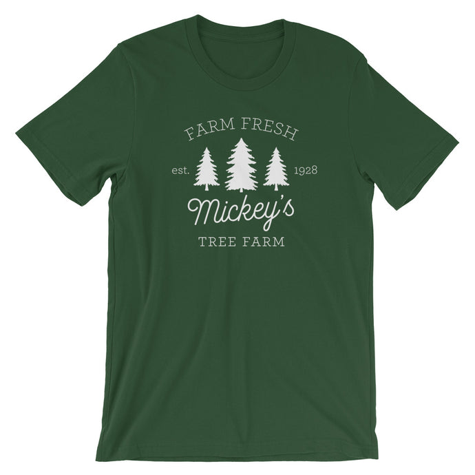 Christmas Mickey's Tree Farm White Print Unisex T-Shirt - Next Stop Main Street
