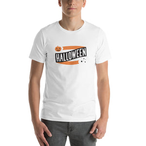 Halloween Banner Pumpkin and Stars Short-Sleeve Unisex T-Shirt (more colors available) - Next Stop Main Street