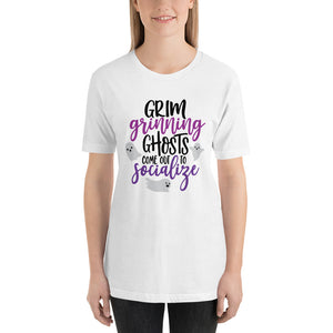 Halloween Grim Grinning Ghosts Come out to Socialize Unisex T-Shirt (more colors available) - Next Stop Main Street