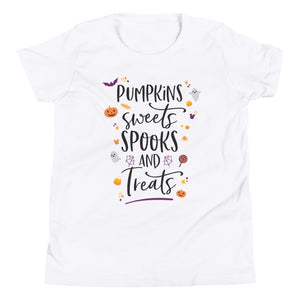 Halloween Pumpkins Sweets Spooks and Treats Youth Short Sleeve T-Shirt - Next Stop Main Street