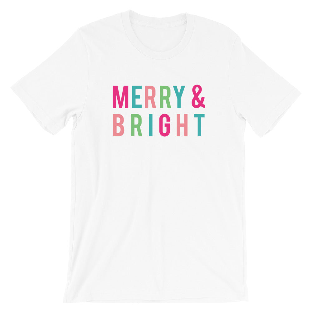 Christmas Merry and Bright Colorful Block Letters Short-Sleeve Unisex T-Shirt - Next Stop Main Street