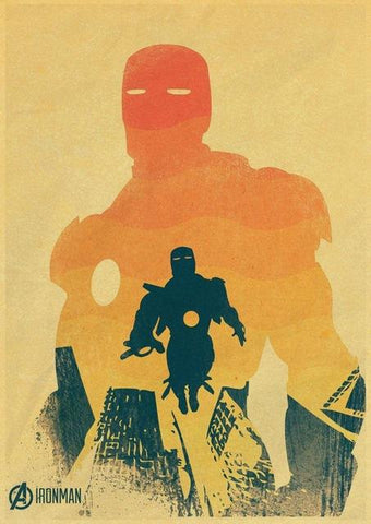 poster kraft à l'effigie du Super Heros Iron Man Marvel