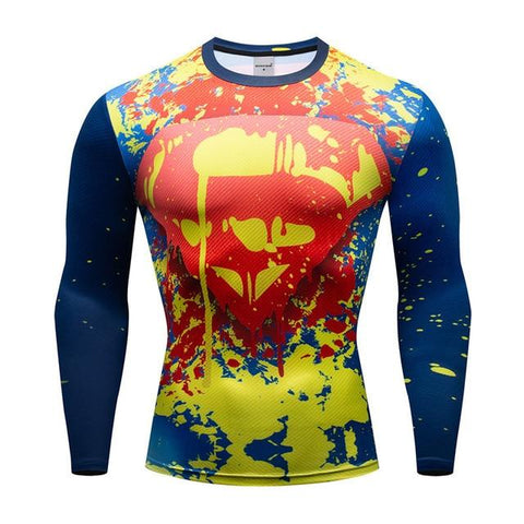 Tee shirt musculation long de face à l'effigie du Super Heros Superman Flash