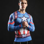 Tee shirt musculation long de face à l'effigie du Super Heros Captain America
