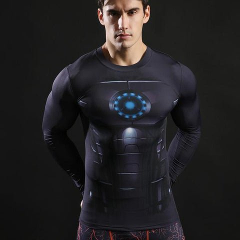Tee shirt musculation long de face à l'effigie du Super Heros Iron Man Noir