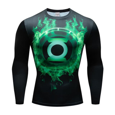 Tee shirt musculation long de face à l'effigie du Super Heros Green Lantern