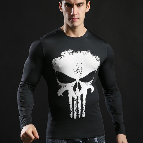 Tee shirt musculation long de face à l'effigie du Super Heros Marvel The Punisher