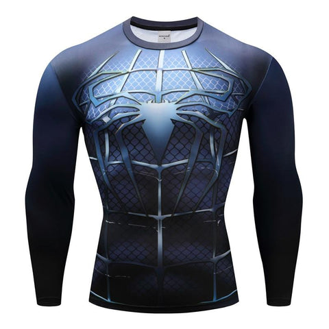 Tee shirt musculation long de face à l'effigie du Super Heros Spider-Man Marine