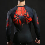 Tee shirt musculation long de dos à l'effigie du Super Heros Spider-Man Fit
