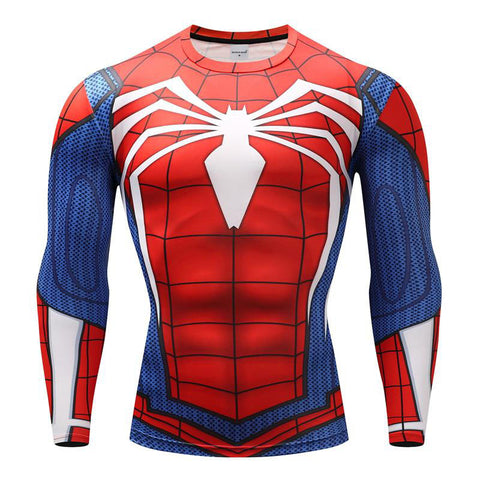Tee shirt musculation long de face à l'effigie du Super Heros Spider-Man Playstation