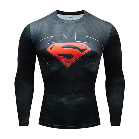 Tee shirt musculation long de face à l'effigie du Super Heros Batman vs Superman