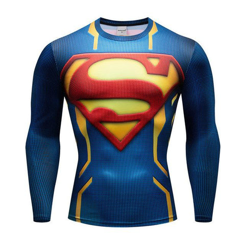Tee shirt musculation long de face à l'effigie du Super Heros Superman Krypton