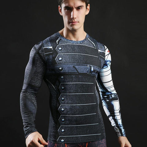 Tee shirt musculation court de face à l'effigie du Super Heros Winter Soldier