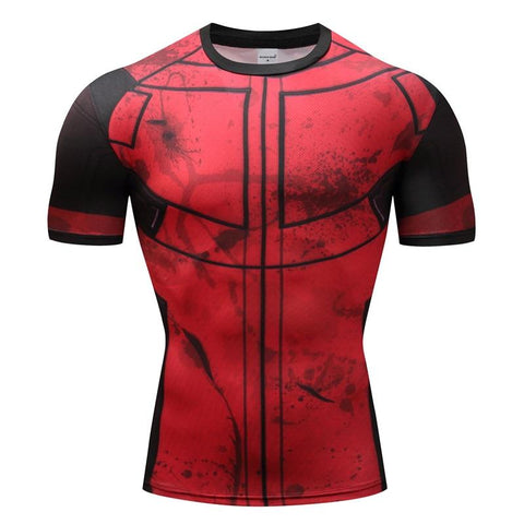 Tee shirt musculation court de face à l'effigie du Super Heros Marvel Deadpool