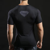 Tee shirt musculation court de dos à l'effigie du Super Heros Superman Dark