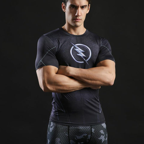 Tee shirt musculation court de face à l'effigie du Super Heros DC Comics The Flash Noir
