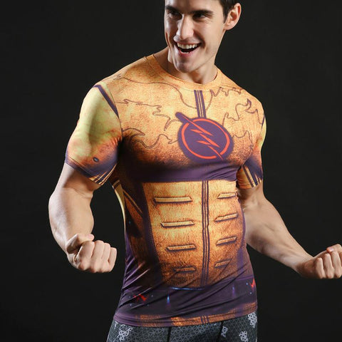 Tee shirt musculation court de côté à l'effigie du Super Heros DC Comics The Flash Power