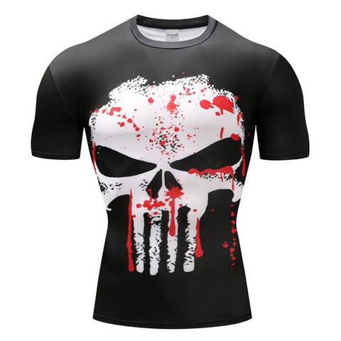 Tee shirt musculation court de face à l'effigie du Super Heros Marvel The Punisher