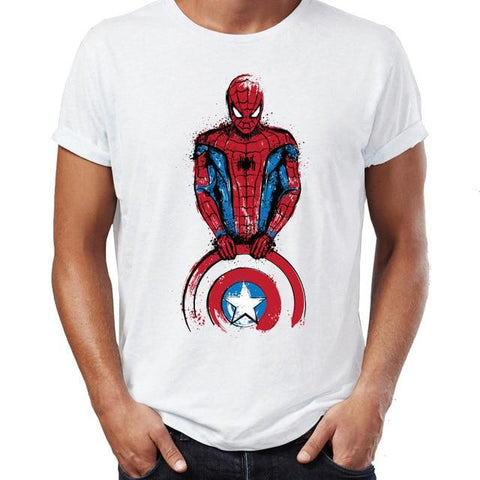T-shirt Marvel à l'effigie de Spiderman avec le bouclier de Captain America