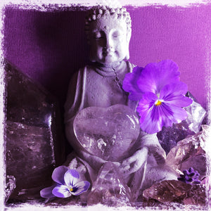 Purple background buddah surrounded by quartz pansy flowers holding a quartz heart