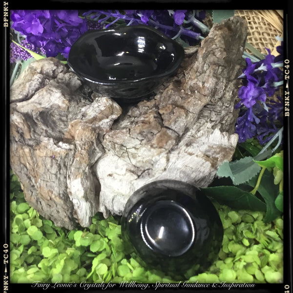 Crystals of Protection  EMPOWERMENT – Obsidian offering bowl