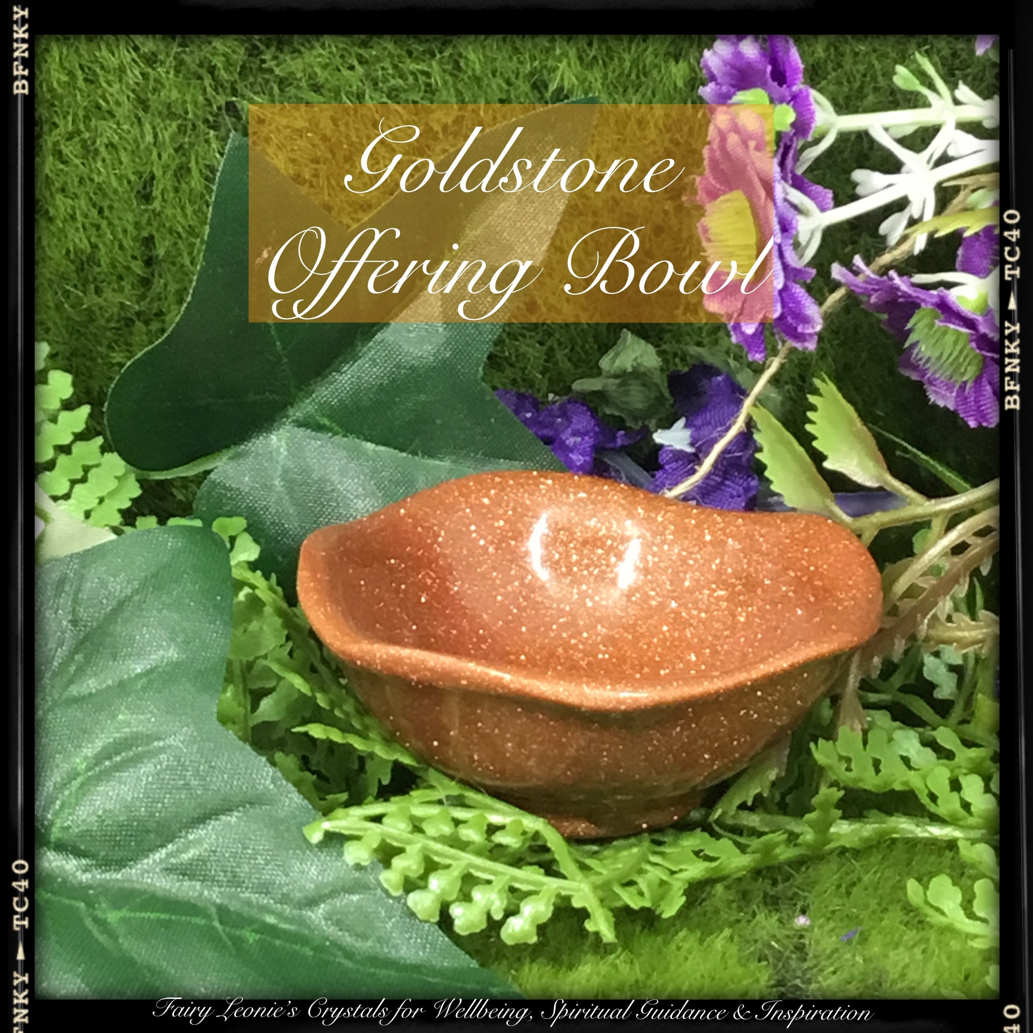 Crystals for Joy & Happiness GOLDSTONE Crystals Offering Bowl