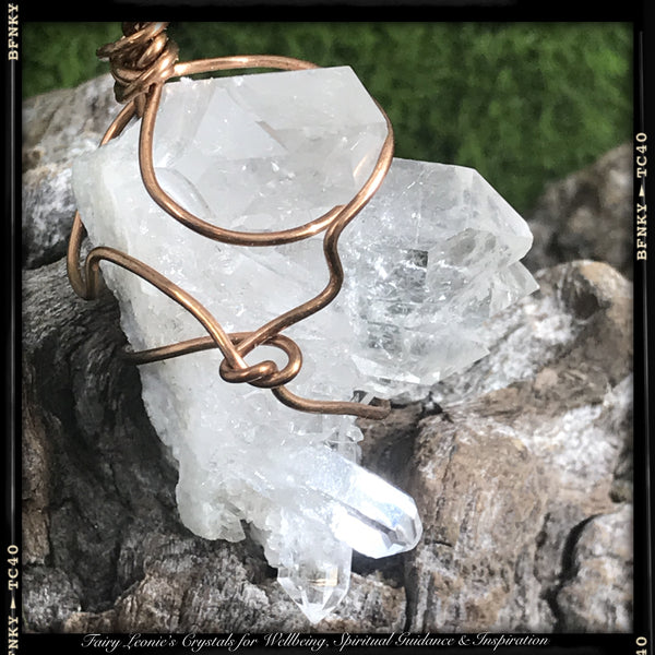 RAW CLEAR QUARTZ CLUSTER -Wire Wrapped Pendant Necklace Wearable Energy