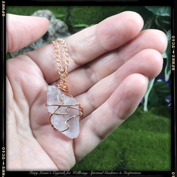 KUNZITE Wearable Raw Energy Natural Pendant Wire Wrapped Necklaces