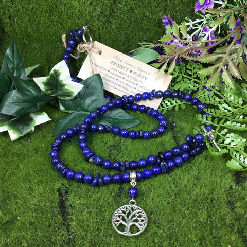 WEARABLE ENERGY - Unique Handmade Lapis lazuli Beaded Necklace