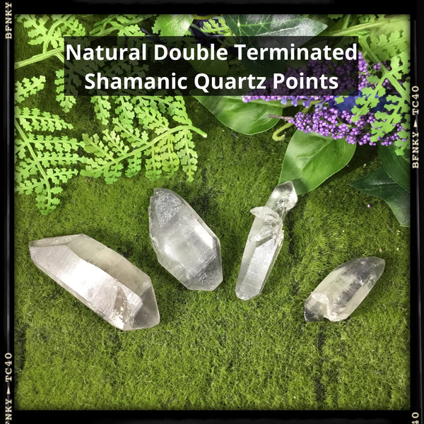 natural double terminated healimg shamanic point quartz wands choice of 4 on green woodland background