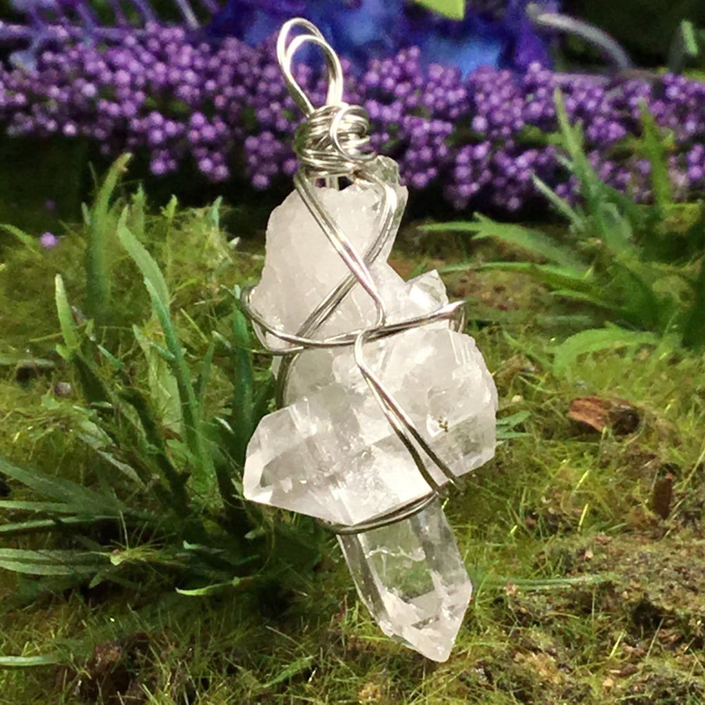 crystal necklace crystal wrapped macrame crystal wrapped necklace crystal macrame necklace Rose quartz crystal wrapped necklace