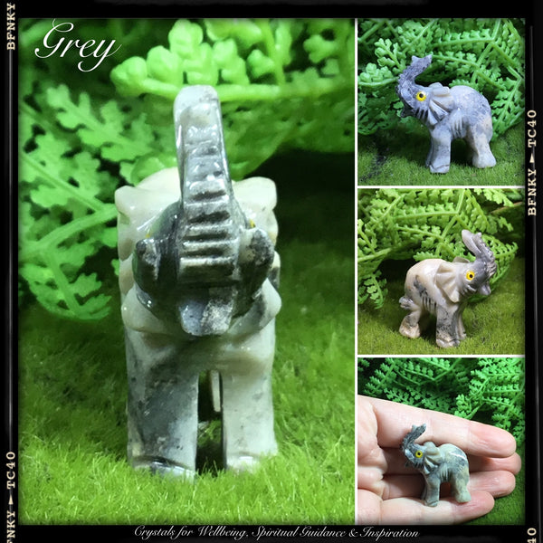 CRYSTALS FOR ABUNDANCE AND PROSPERITY. Hand carved  Elephant