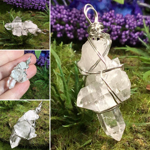 WEARABLE ENERGY- Wire Wrapped Australian Clear Quartz mini Bridge Cluster pendant necklace #3