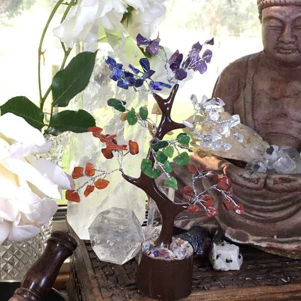 Seven Chakra Crystal Tree of Life  Feng Shui Tree Meditation Spiritual Crystal Gifts For Money Luck Home Decor & Sacred Space