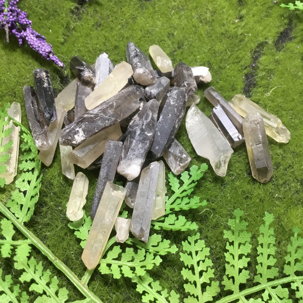 Raw Smoky Quartz Needle Points 100g Bags