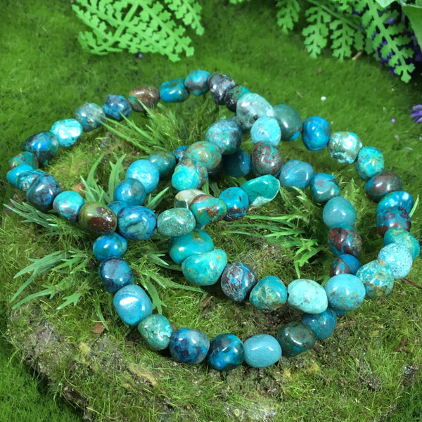 multiple chrysocolla bracelets