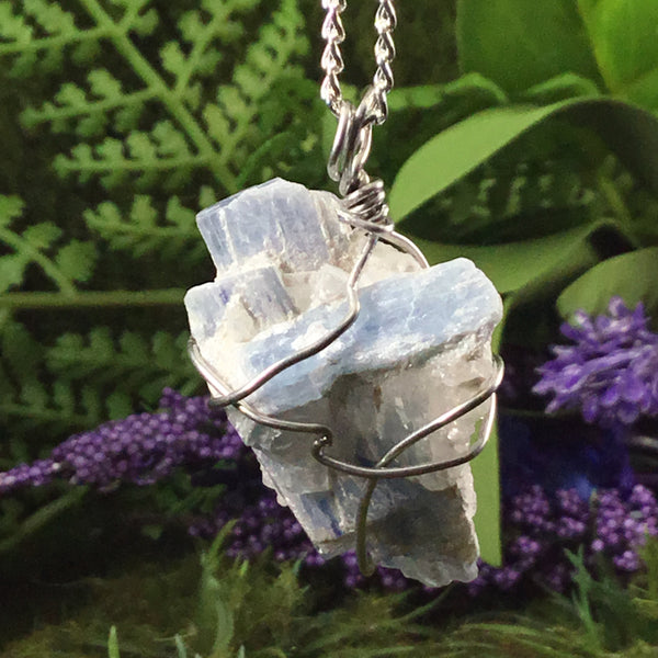 WEARABLE ENERGY- Natural Kyanite 'alignment' necklace pendant #2