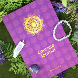 COURAGE UNRAVELED Journal and Crystal Gift Set - Crystals for Confidence & Courage