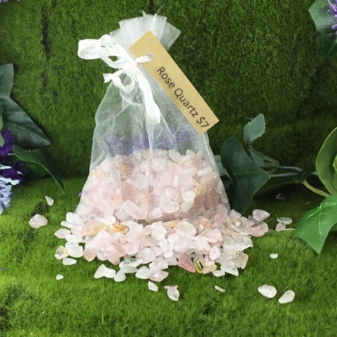 Crystal Chip Bulk Grid Bag ROSE QUARTZ