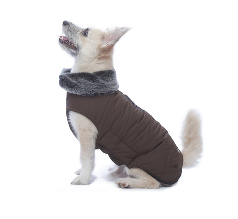 dog jacket, tamarack jacket, repelzit, repelz-it, nano technology, nano treatment, long-lasting dog jackets, winter dog jacket, fleece liner, brown dog jacket