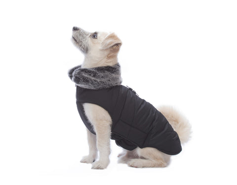 dog jacket, tamarack jacket, repelzit, repelz-it, nano technology, nano treatment, long-lasting dog jackets, winter dog jacket, fleece liner, black dog jacket